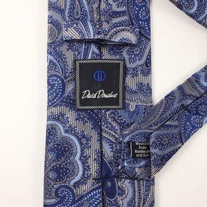 David Donahue Blue & Gray Paisley Silk Tie